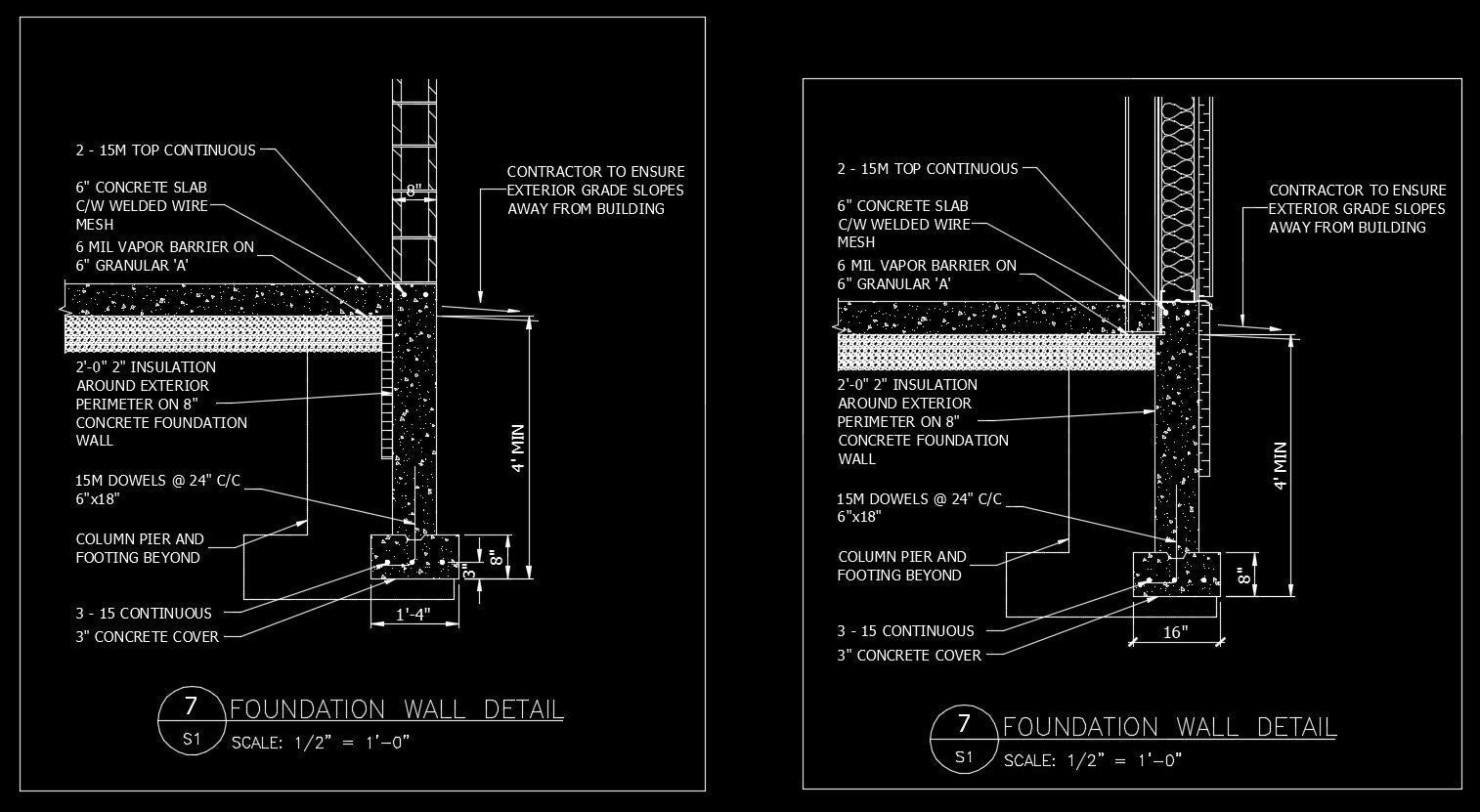 Free cad details foundation wall detail cad design for Online cad drawing