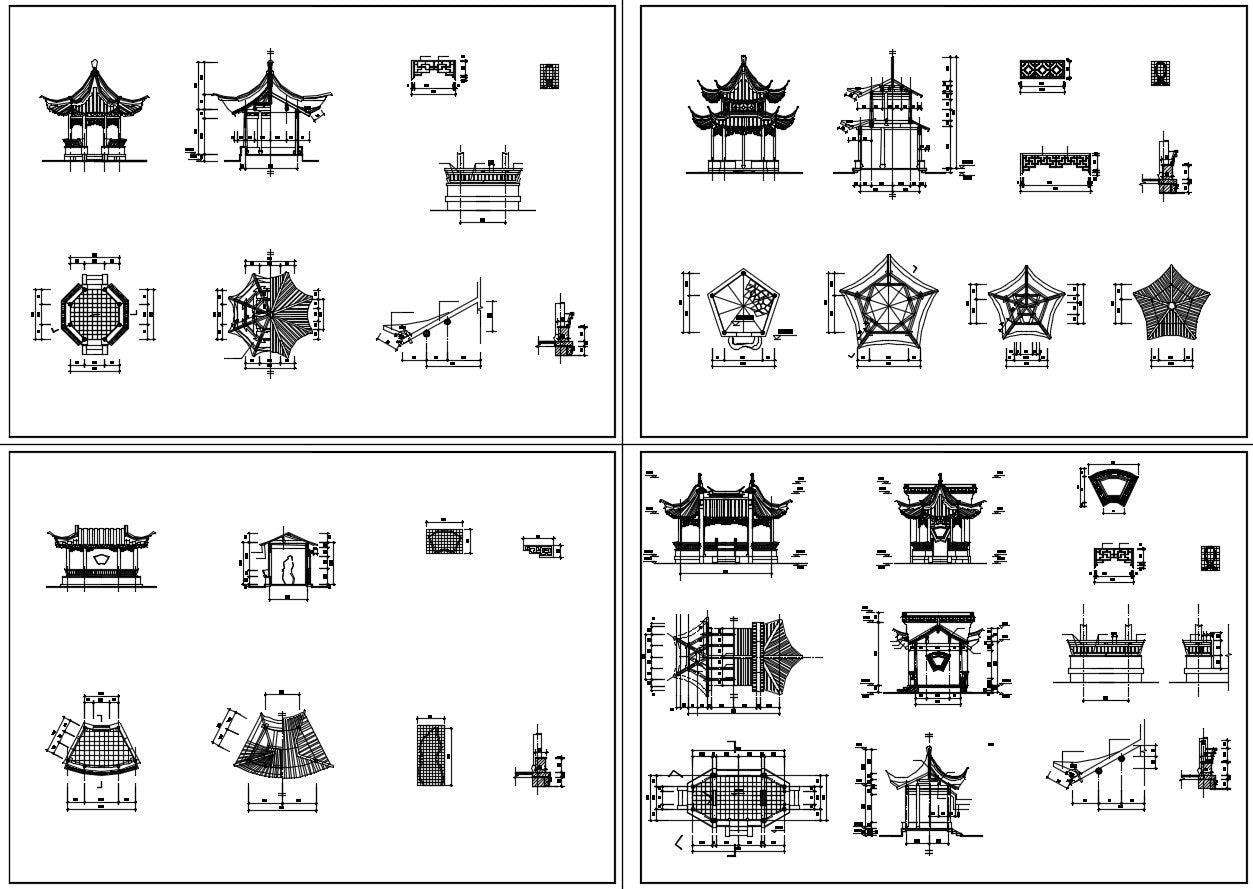 Chinese Architecture CAD Drawings-All Chinese Pavilion Collections