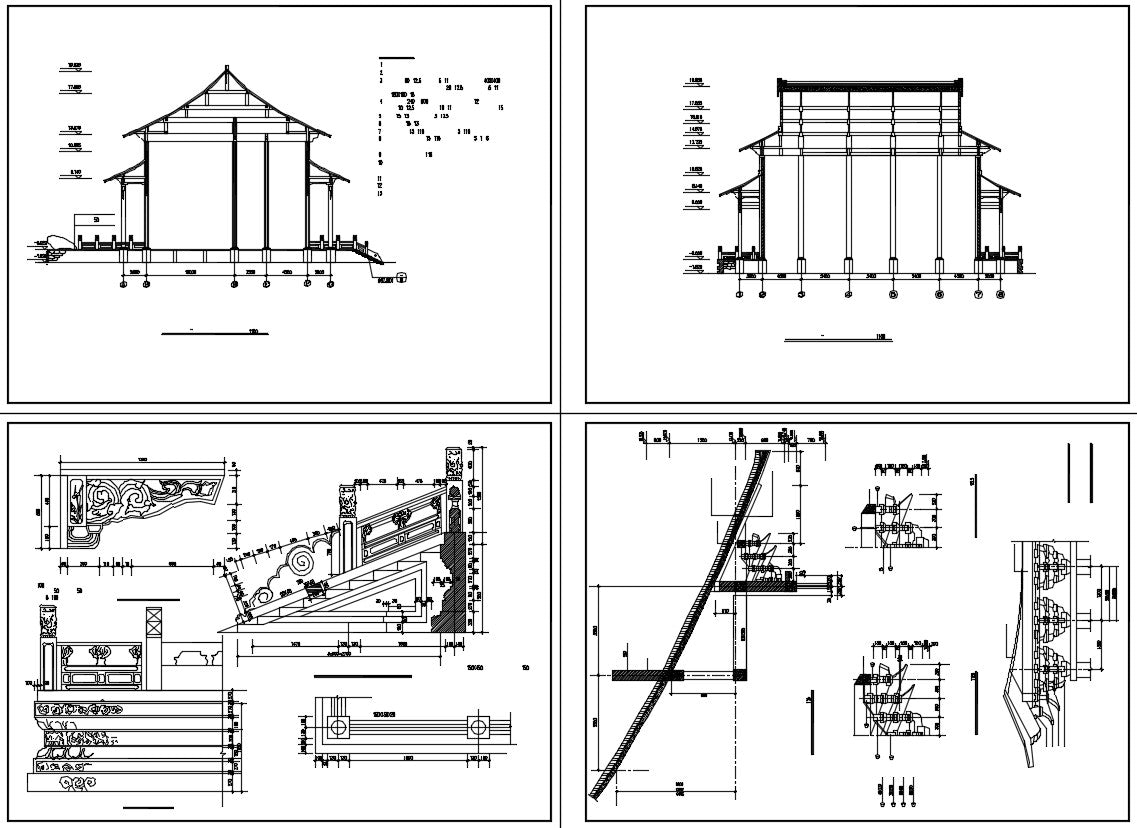 Chinese Architecture CAD Drawings(Grand Hall of Chinese Temple)