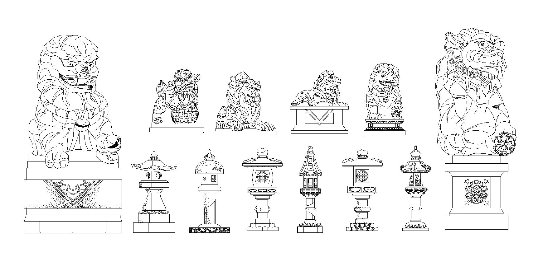 Stone Elevation Cad Block : Free chinese statue and stone lamp cad design