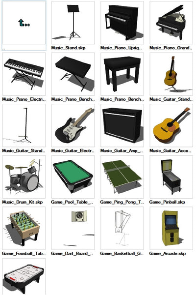 Sketchup Music+Games 3D models download - CAD Design | Download CAD Drawings | AutoCAD Blocks | AutoCAD Symbols | CAD Drawings | Architecture Details│Landscape Details | See more about AutoCAD, Cad Drawing and Architecture Details