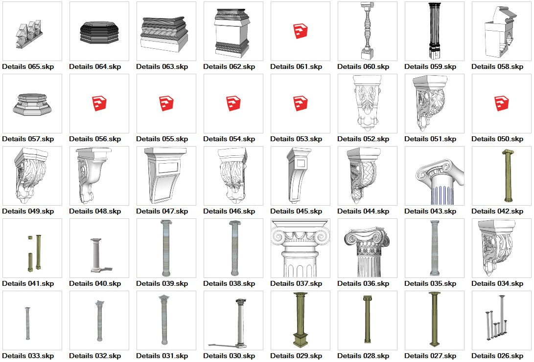 European Architecture Elements 3D Models-Sketchup 3D Models