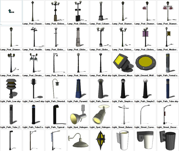 Outdoor Lamp Cad Block: Sketchup Lighting Exterior 3D Models Download