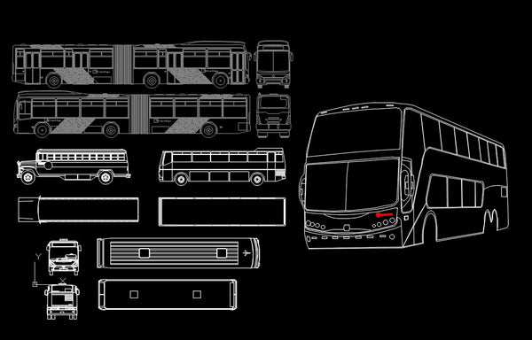 Bus Blocks Cad Design Free Cad Blocks Drawings Details