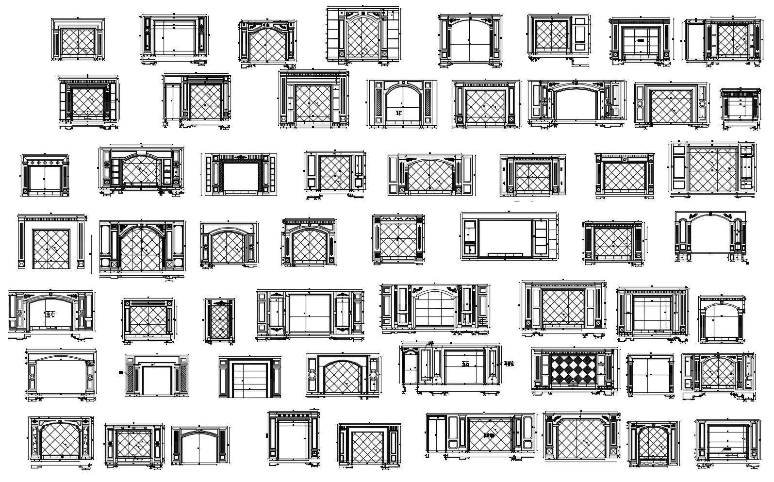 188 types of tv wall design cad drawings living room for Room design cad