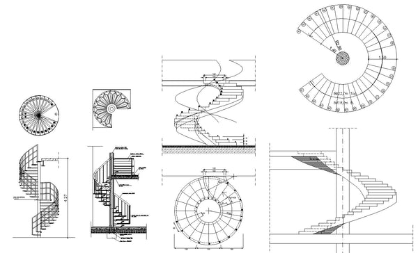 Free spiral stair details cad design free cad blocks for Spiral staircase dwg