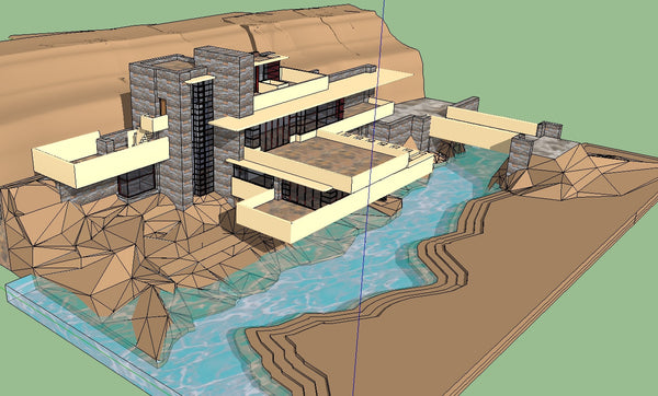 sketchup 3d architecture models  fallingwater frank lloyd