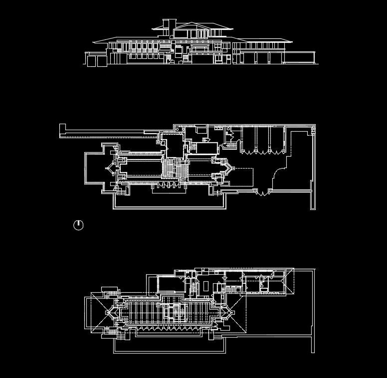 Frank lloyd wright robie house cad design free cad for House cad file