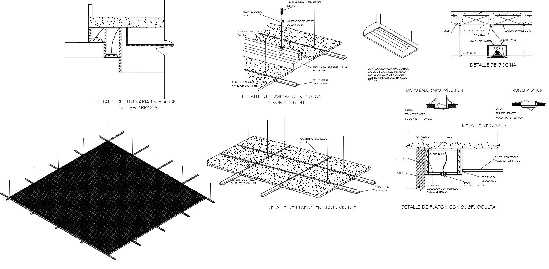 Ceiling detail sections drawing dwg files include plan, elevations and sectional detail of suspended ceilings in autocad dwg files