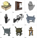 【Sketchup 3D Models】57 Types of Chinese Statue Design 3D Models
