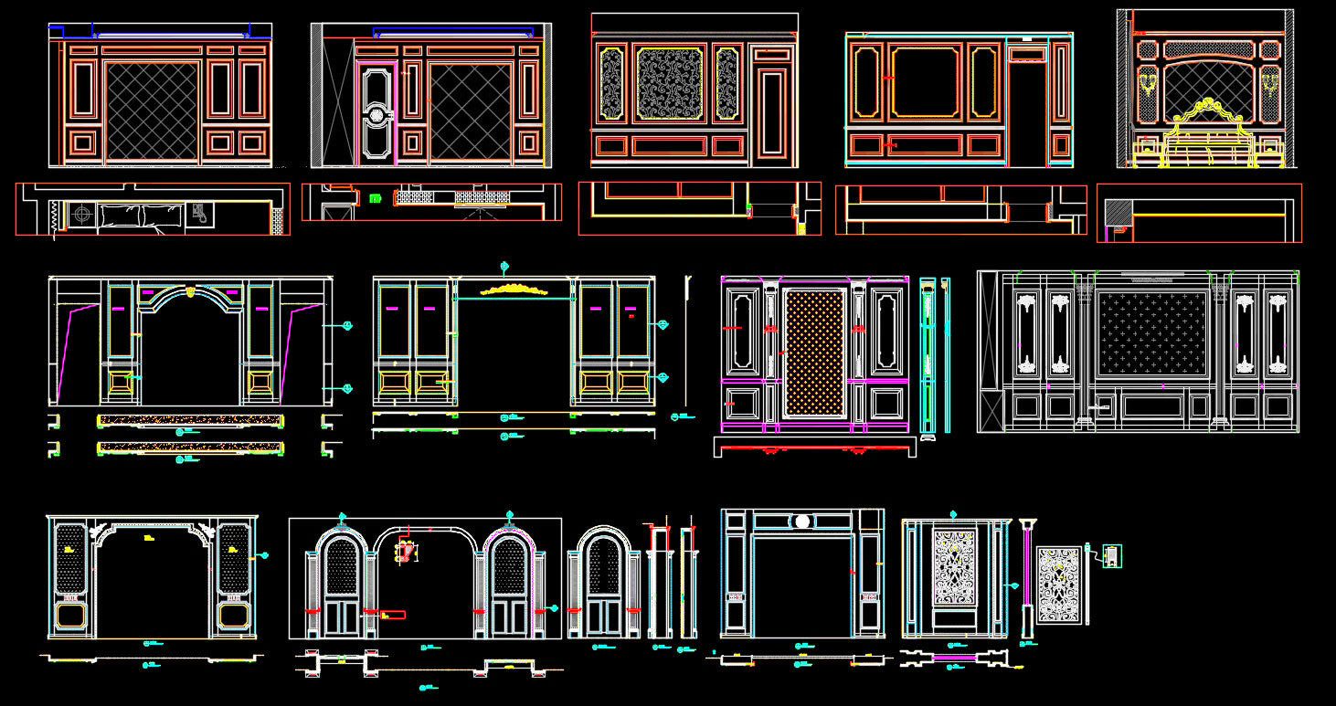 88 Types of Bedroom Back Wall Design CAD Drawings