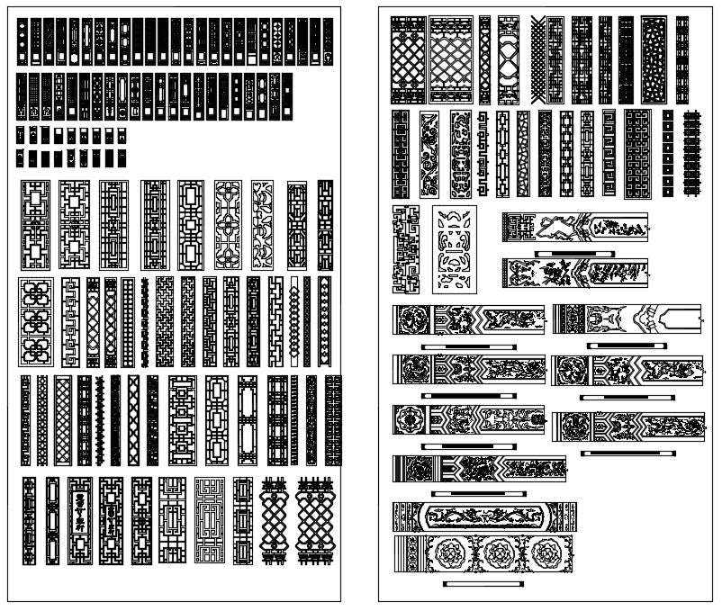 Over 500+ Chinese Decorative elements-Frame,Pattern,Border,Door,Windows,Roof,Lattice,Carved Wood