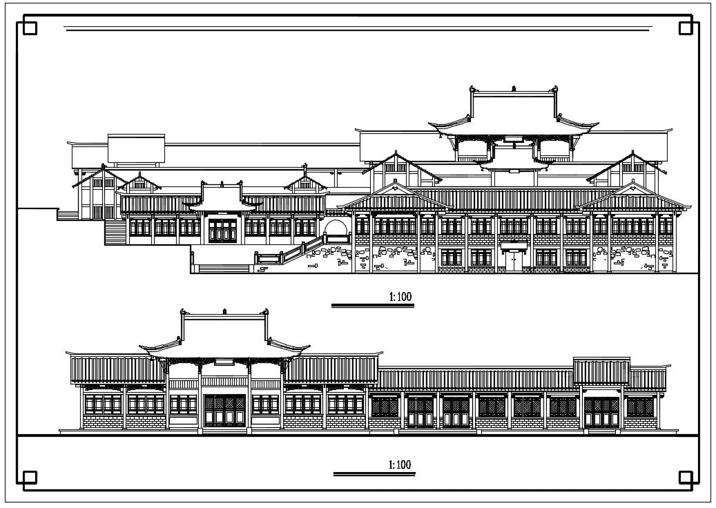 Chinese Architecture CAD Drawings-Chinese Architecture Elevation