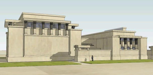 Sketchup 3D Architecture models-Unity temple of architect Frank lloyd wright