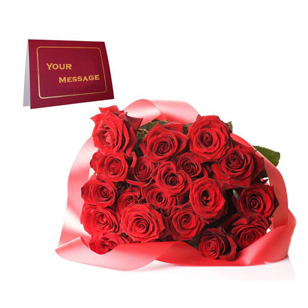 20 RED ROSES BOUQUET WITH GREETING CARD