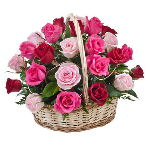 30 MIXED ROSES BASKET