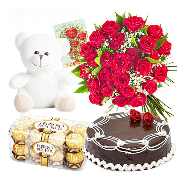 1 KG CAKE WITH TEDDY BEAR ,16 PCS FERRERO ROCHER CHOCOLATES AND 50 ROSES BOUQUET