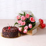 50 PINK ROSES WITH 1 KG CAKE