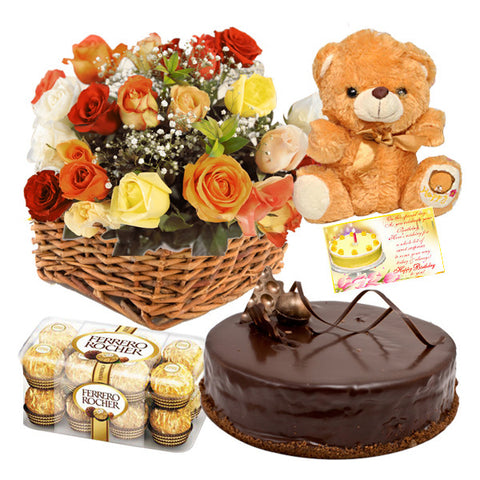 1 KG CAKE WITH TEDDY BEAR, 12 ROSES BOUQUET , GREETING CARD AND 16 PIECES FERRERO ROCHER CHOCOLATES