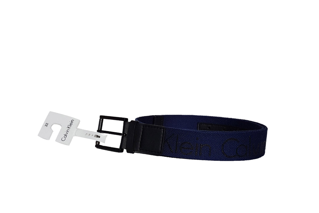 Calvin Klein CK Women Belt Logo Print in Navy Cotton Belt NWT ... ace46520c2e