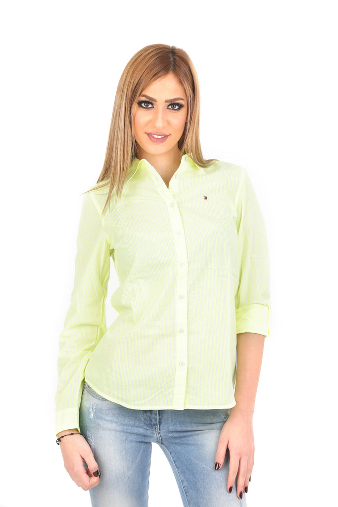 80059ae4e Tommy Hilfiger Women White & Green Striped Casual Shirt – PickyShopping