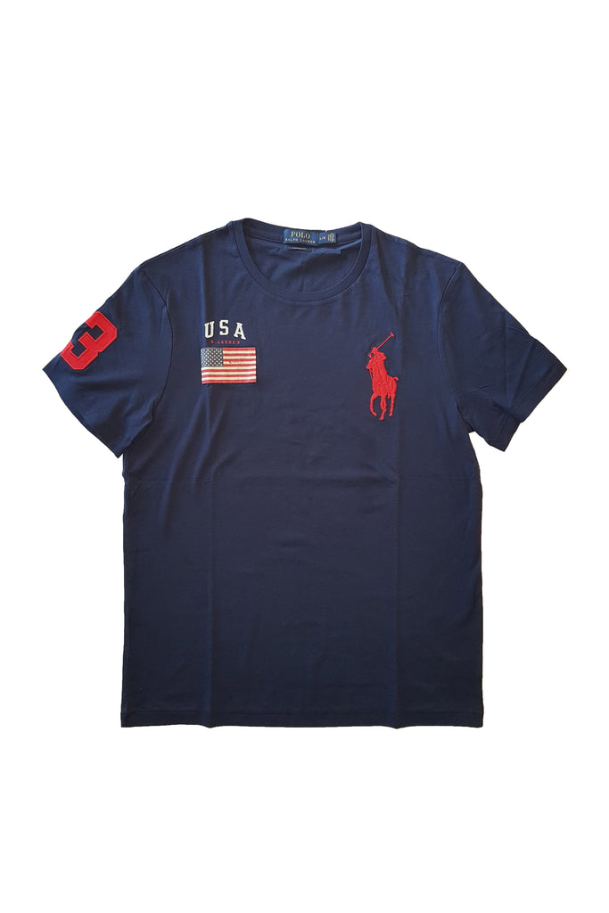 607bac2f0c80 Polo Ralph Lauren Men s Navy Blue USA Flag Big Pony Crew Neck T-Shirt ...