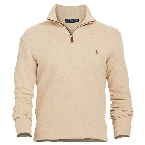 Ralph Lauren Men's Estate Rib Half Zip Pullover Sweater Safari Heather