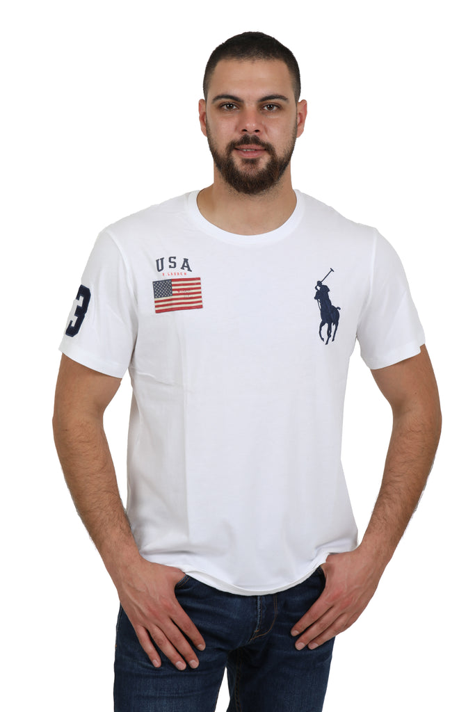 Shirt Lauren Polo Flag Ralph T Usa Men's White Big Pony Crewneck dxBrCoe