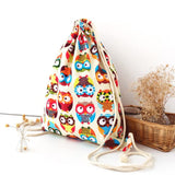 Graphic Owl Drawstring Backpack - The Hoot House