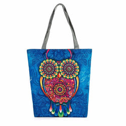 Zippered Canvas Owl Tote - The Hoot House