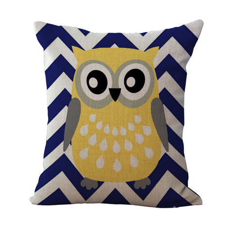 Bright Owl Print Throw Pillow Cover - The Hoot House