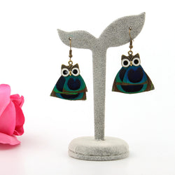 Peacock Feather Owl Drop Earrings - The Hoot House