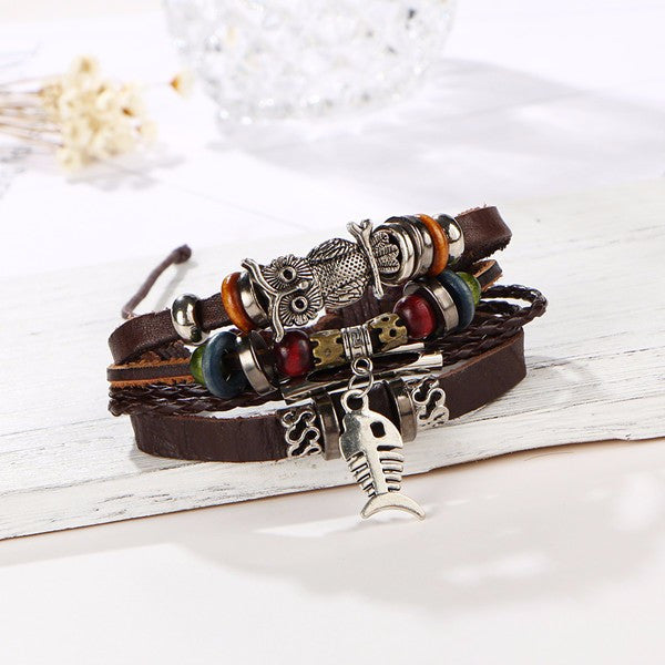 Unisex Vintage Leather Adjustable Bracelet - The Hoot House