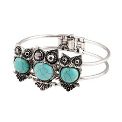 Turquoise and Silver 3 Owl Retro Bracelet - The Hoot House