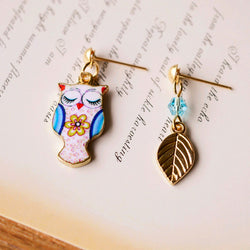 Asymmetric Owl Leaf Stud Earrings - The Hoot House