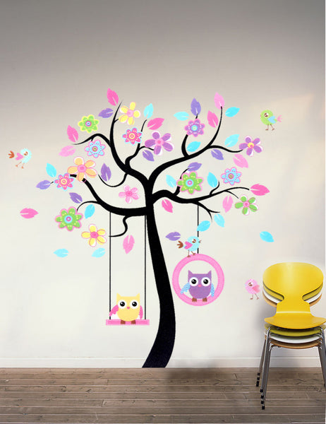 Swinging Owls Tree Wall Sticker Mural - The Hoot House