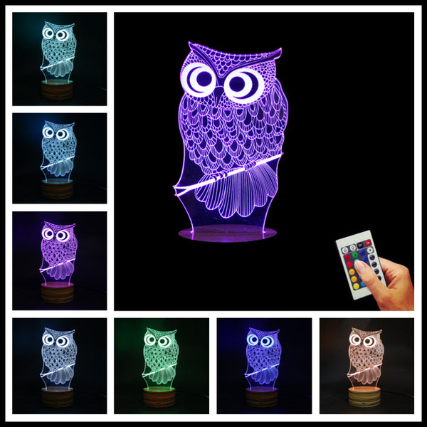 Owl 3D Illusion Lamp - The Hoot House