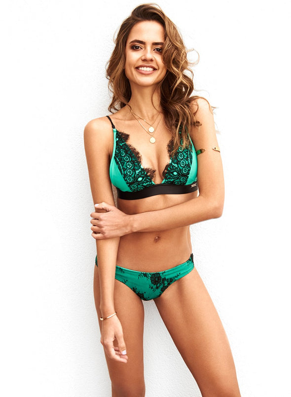 MIMOSA GREEN/BLACK LACE BOTTOM - La Michaux