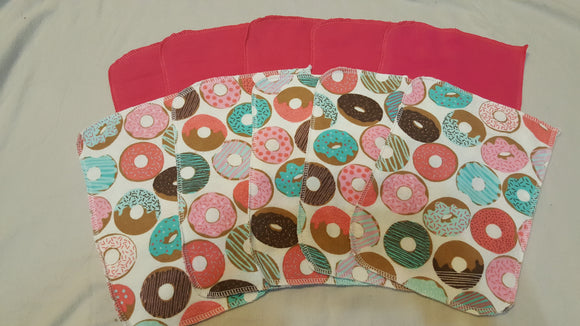Lunch Bag Napkins 5 Donuts and 5 Pink