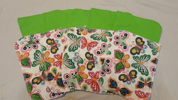 Lunch Bag Napkins 5 Butterfly and 5 Green
