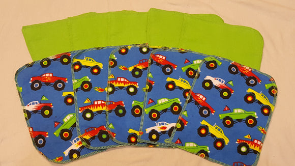 Lunch Bag Napkins 5 Trucks and 5 Green