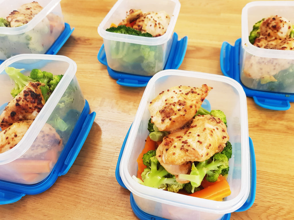 Oven Baked Chicken Recipe - Honey Mustard Chicken & Veggies - side view in containers