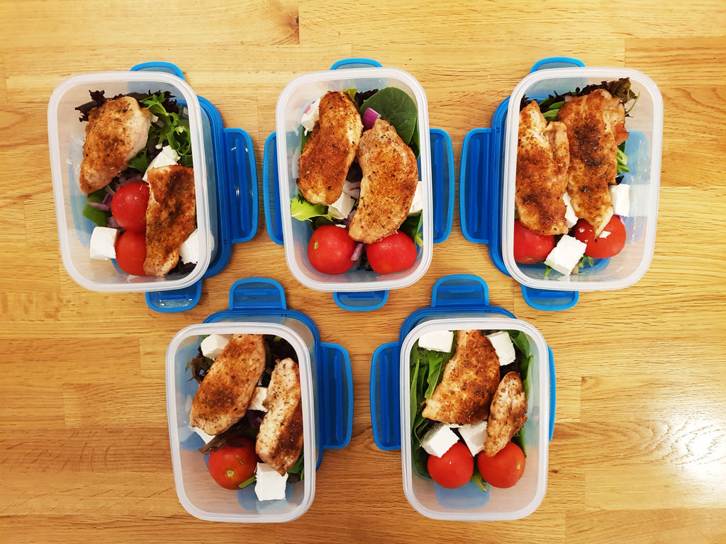 Oven Baked Chicken Recipe - Sugar Spice Chicken & Salad - top view in containers