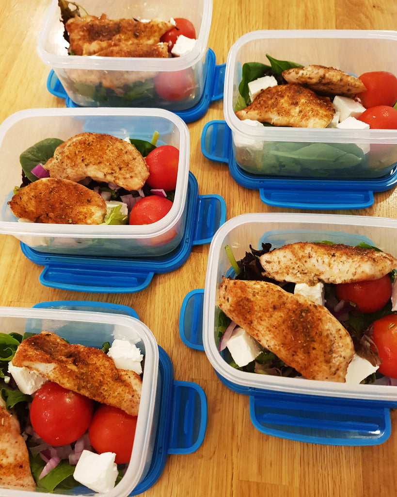 Oven Baked Chicken Recipe - Sugar Spice Chicken & Salad - side view in containers