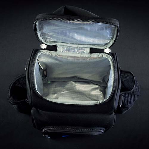 birds eye view of main insulated compartment of motion meal prep bag
