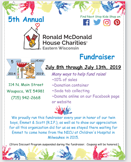 Early Donating for our RMHC fundraiser starts today!