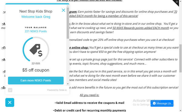 Kids Shop V. I. P. Online Shop Club  Subscription Membership
