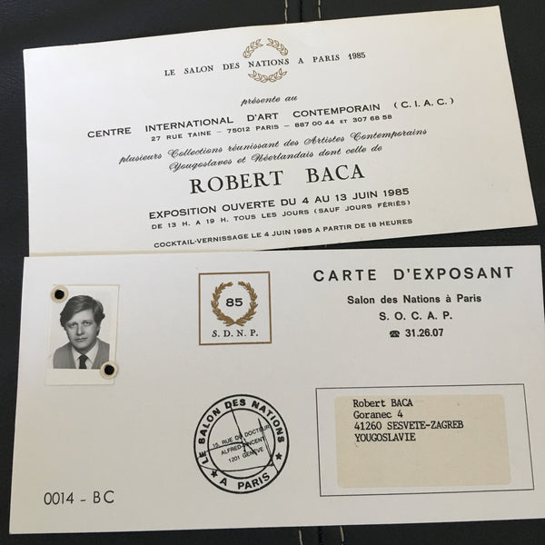 Robert Baca Paris exhibition ID card