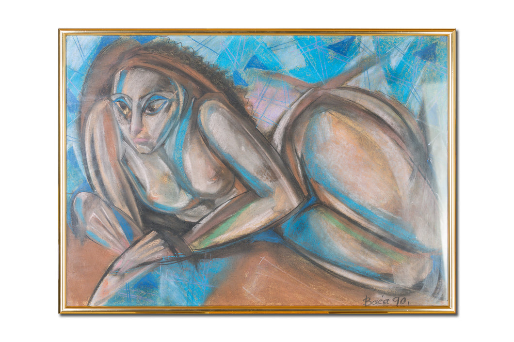Abstract painting, Nude female series, pastel on paper by Robert Baća