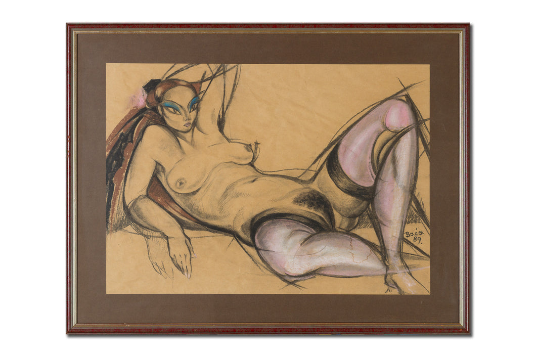 Abstract painting, Nude female series, charcoal and pastel on paper by Robert Baća